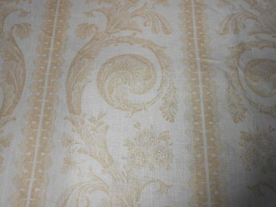 6Y VERVAIN printed linen RISCOLI in Gold scroll design new home decor fabric