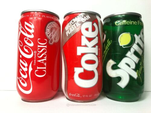 Coca-Cola - Test Market Samples - Recyclable Plastic Coke + Sprite Can (1985) x3