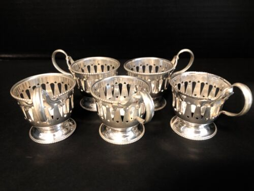 Beautiful Old Sterling Silver Demitasse Cups Set of 5