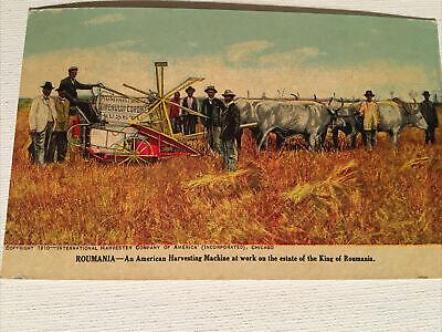 Vintage Postcard, International Harvester, King Of romania Estate, 1910