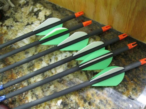 """CARBON STORM Arrows  350 spine  8.3 gpi  31 1/2""""nch  Green /White Vanes"""