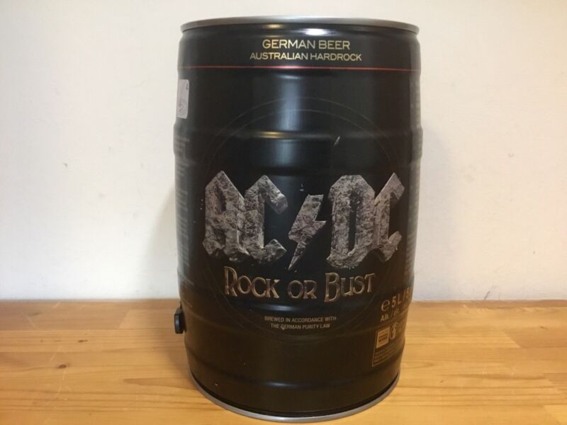 AC/DC empty Beer Keg Upcycling Memorabilia Rock Or Bust ACDC