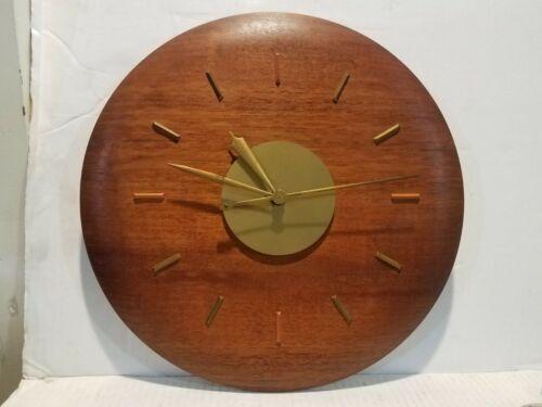 "Mid Century Modern Electric Wall Clock 15"" Teak Wood Synchron Movement"