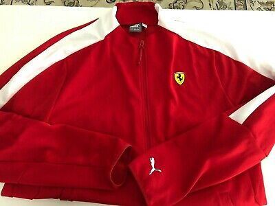 Puma Scuderia Ferrari Full Zip T7 Track Jacket Red Racing Sweatshirt Size XL