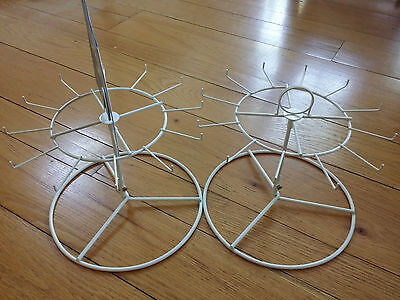 2-Pack White 12-Hook/Peg Counter Top Spinner Display Rack Jewelry/Toys/Keychains