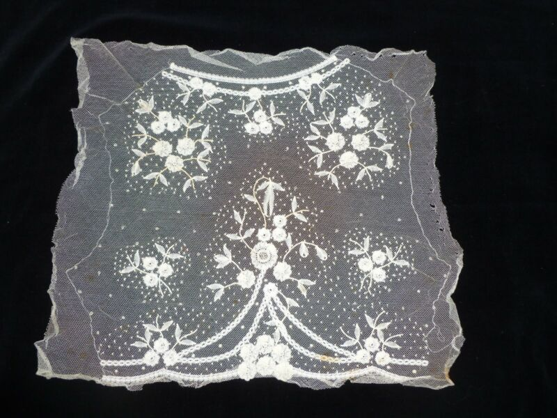 Antique French PRINCESSE Lace Victorian Edwardian Dress Front Collar-UNUSED