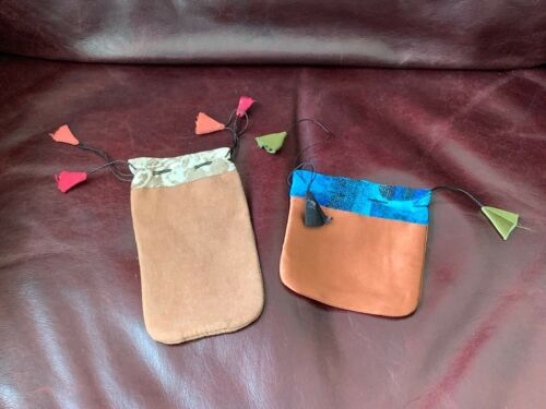 Handmade - Drawstring Jewelry Gift Pouches or Bags withTassels - Two Piece Lot