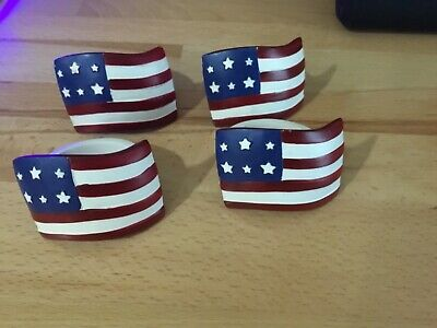 Kohl's Star and Stripes Flag Napkin Rings Set of 4 July 4th or Memorial Day - 4th Of July Tableware