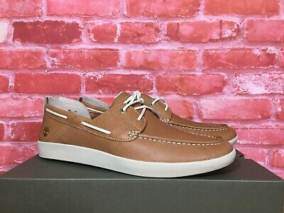 TIMBERLAND MEN'S PROJECT BETTER BOAT SHOES BROWN FULL GRAIN A27FZ SIZES