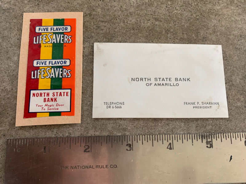 Vintage Life Savers Candy Wrapper with Private Advertisement North State Bank TX