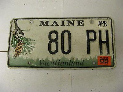 2009 09 Maine ME License Plate 80 PH Bird Pinecone