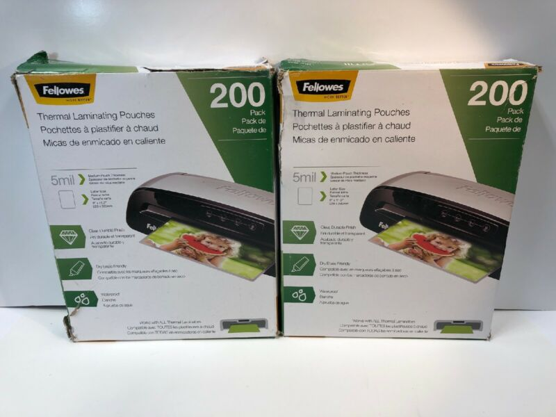 400-PACK Fellowes Thermal Laminating Pouches Letter Size 5mil (Distressed Boxes)