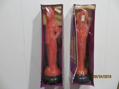 """Vintage Lot of Two 12"""" Figurine Candle Made in Hong Kong 841 & 851"""
