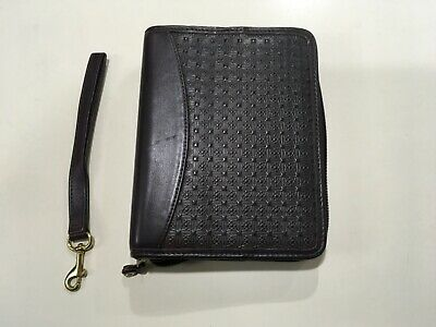 Compact Franklin Covey Brown Nappa Leather 1-14 Rings Zippered Planner Binder
