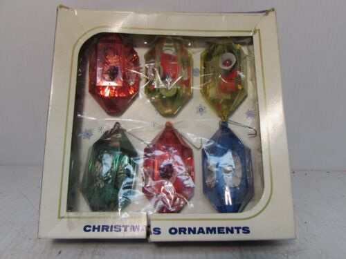 Jewel Brite Christmas Ornaments Lantern Box Vintage Set of 6 (CC4)