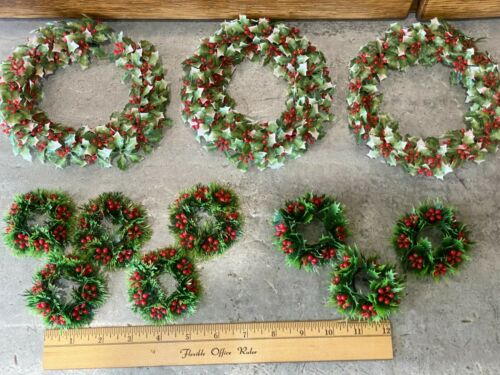 Lot 11 Vtg Plastic Holly Leaves Berries Christmas Candle Wreath Centerpieces MCM
