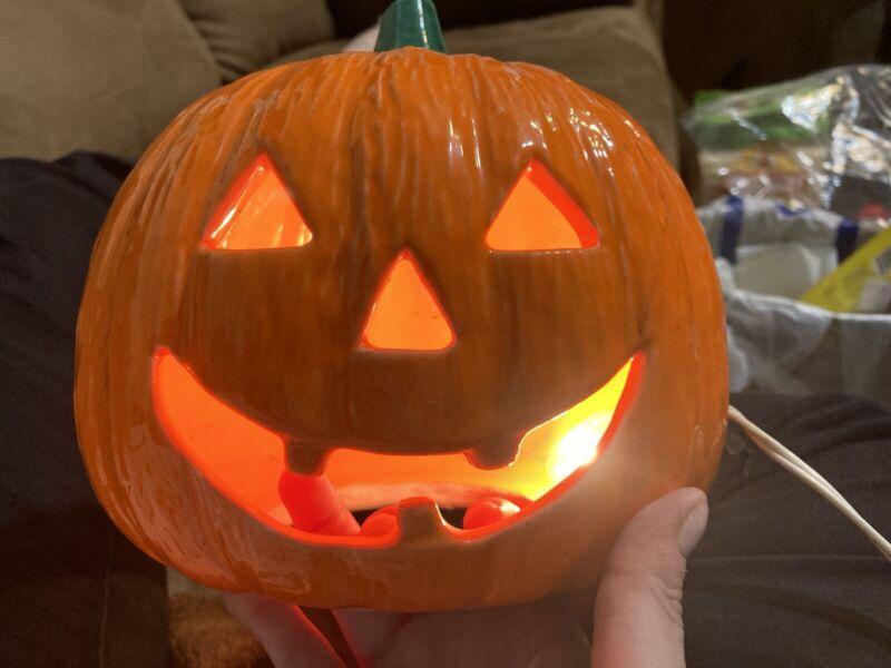 "Vintage Light Up Jack O Lantern Halloween Orange Pumpkin Decoration 7"" Ceramic"
