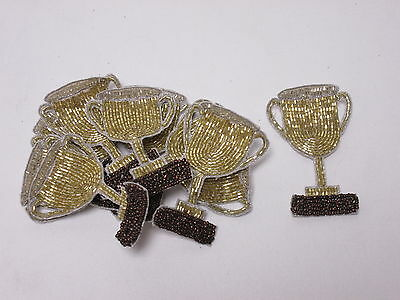 Set of 10 Gold Beaded Trophy Card Making Crafts Embroidered Motifs Badges #1A130