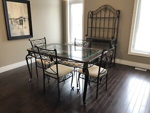 6-Piece Wrought Iron, Marble & Glass Dining Room set