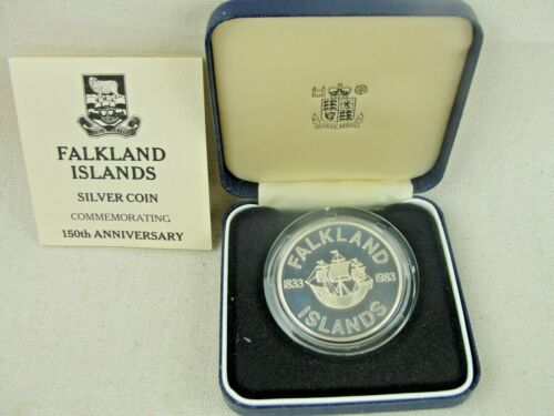 1983 Falkland Islands 150th Anniversary Silver 50 Pence Proof Coin