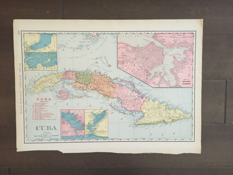 """Large 21"""" X 14"""" COLOR Rand McNally Map of Cuba-1905"""