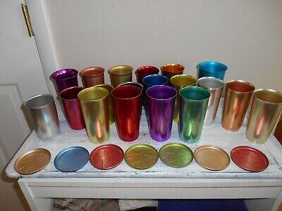 Lot of 26 Vtg Anodized Aluminum Tumblers Coasters Heller Color Craft Emson-Ware