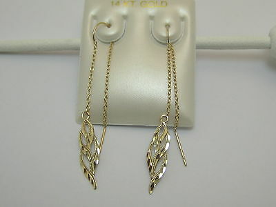 Solid 14k Yellow Gold Fancy Threader Dangle Earrings Style 1196 Made In USA 14k Gold Threader Earrings
