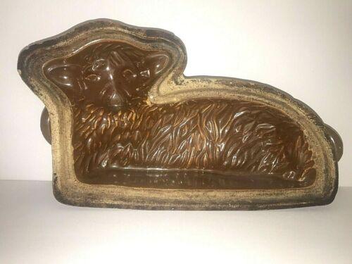 Antique Large Stoneware Cake Mold Lamb