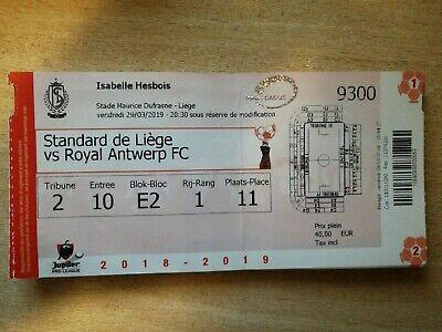 Plié! Ticket footbal Standard de Liège  R Antwerp FC 29/03/2019 2018-2019 PO1