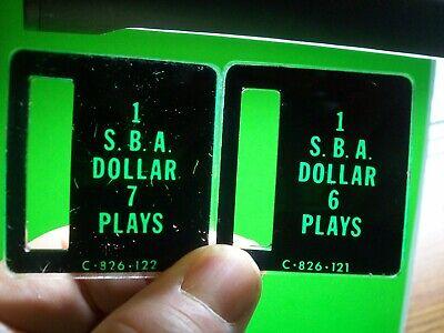 SBA Coin Pinball Machine C-826-122 C-826-121 Bally Stern Plastic Coin Plates #7
