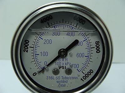 301lfw-254u 2.5 Glycerin Filled Ss 316 Internals Gauge 14 Npt Lm 010k Psi