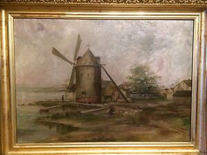 Antique Dutch Windmill Oil Painting  dated 1912