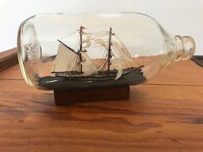 RARE VINTAGE NAUTICAL SHIP IN A BOTTLE GALEON BOAT SHIP ON WOODEN STAND