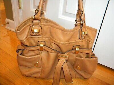 Women's B. Makowsky Large Camel Leather Handbag w/ Gold Findings