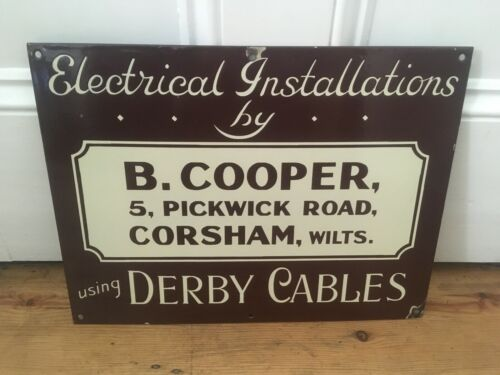 Circa 1930s Electric Installations Enamel Sign Derby Cables Corsham Ex Condition