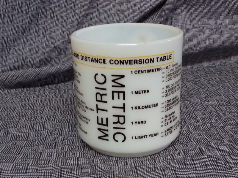 Vintage METRIC CONVERSION MILK GLASS COFFEE MUG CUP RETRO 1970s