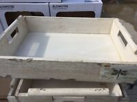 White rustic trays