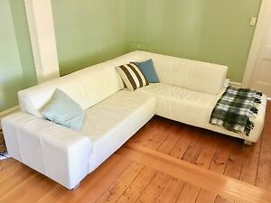 White Leather Sofa Woollahra Eastern Suburbs Preview