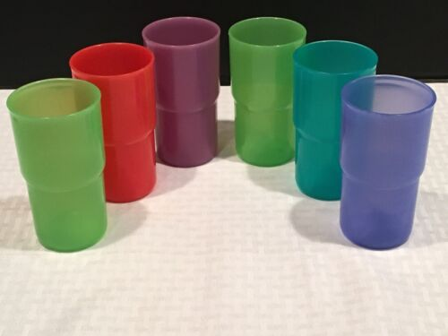 Set of 6 Tupperware Multicolor Stackable 12 ounce Tumblers Cups  #2412