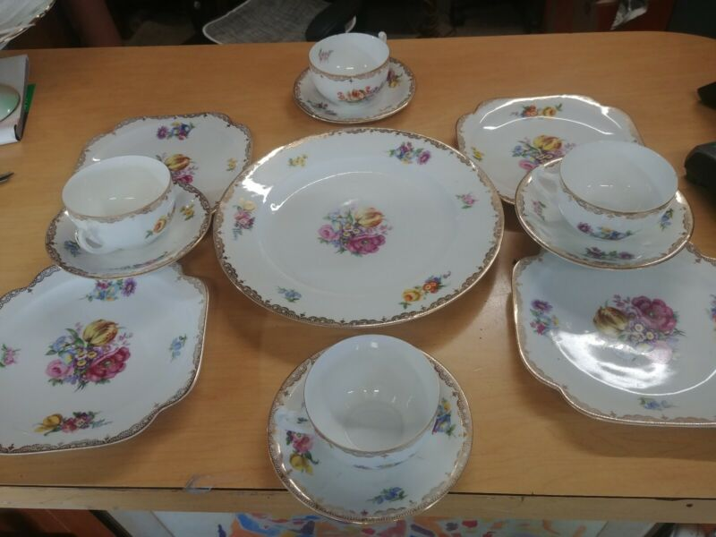 ROYAL PORCELAIN CZECHOSLOVAKIA CHINA 13 piece Snack Set