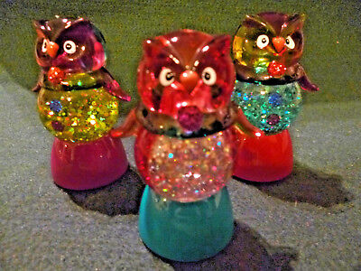 Hallmark Gift Bags 3 Halloween Owls Snow Globes Changing Colors FREE Ship NEW