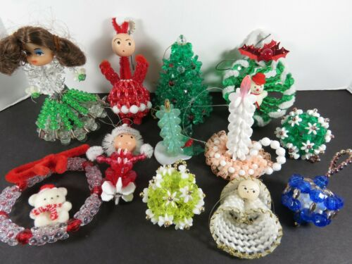 12 Handmade Plastic Beaded Wired Flocked Wood Head Christmas Ornaments Lot A6512