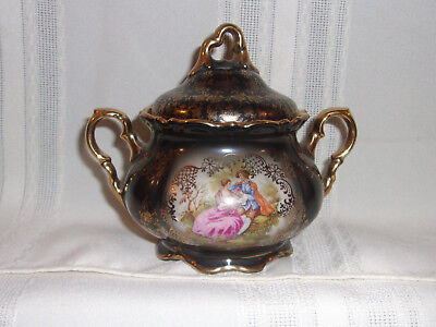 BAVARIA WALDERSHOF GERMANY Sugar Bowl #82 Gold Trim Ornately Decorated NICE!