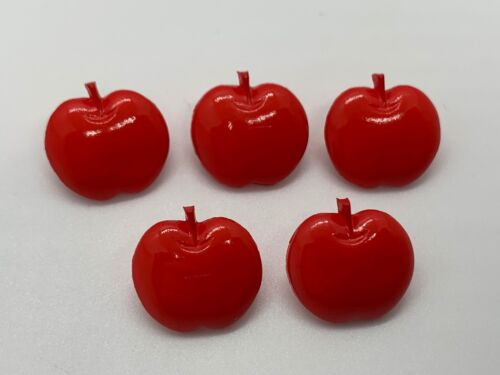 """Red Apple Shank Buttons Vintage Plastic 5 Count 1/2"""""""