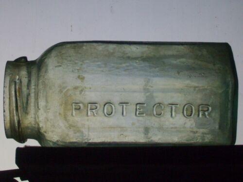 Rare Protector fruit canning jar 1 qt. Aqua, no panels recessed no closure