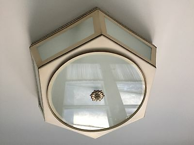 Around Painted Toleware Cream and Brn/Blk accents Ceiling Mount Lighting Fixture