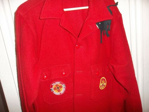 Official Boy Scouts of America red wool coat, with patches. 60s New Mexico Sz 46
