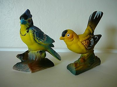 2 Vintage Inarco Japan Bird Figurines-1 Blue Jay & 1 Yellow Finch Figurine