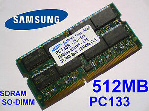 512MB PC133 SDRAM CL3 NP SO-DIMM 144 pin NOTEBOOK LAPTOP SODIMM RAM SPEICHER