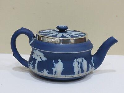 Dark Blue Rim (Antique 1905 Wedgwood Dark Blue Teapot w/ Sterling Silver Rim)